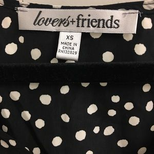 Lovers + Friends V Neck Polka Dot Blouse